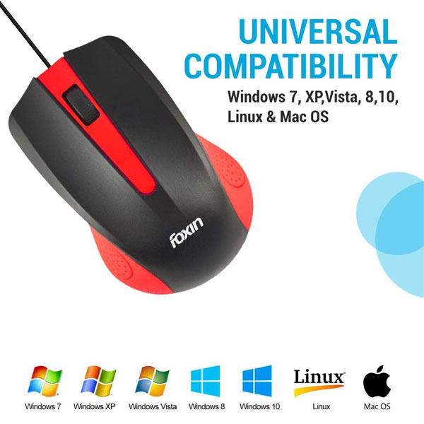 foxin wired usb optical mouse classy red 2