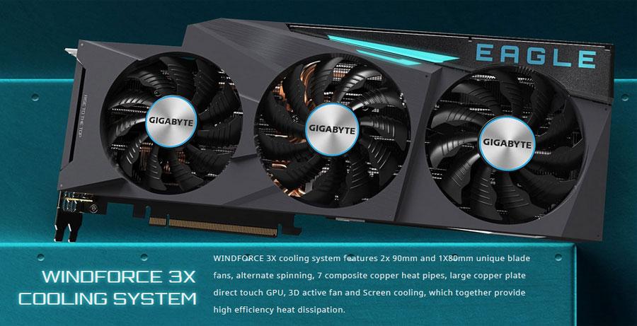 Gigabyte GeForce RTX 3080 EAGLE OC 10G 10GB GDDR6 Graphics Card GV-N3080EAGLE OC-10GD