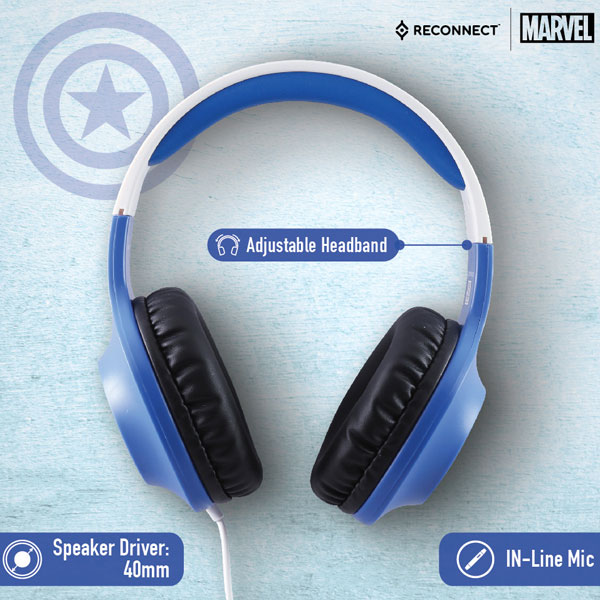reconnect 101 marvel captain america wired headphone 2
