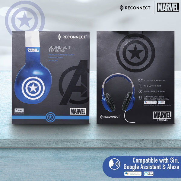 reconnect 101 marvel captain america wired headphone 5