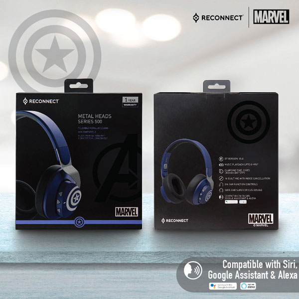 reconnect 501 marvel captain america wireless headphone 6