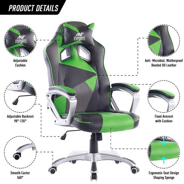 ant esports 8077 gaming chair black green 4