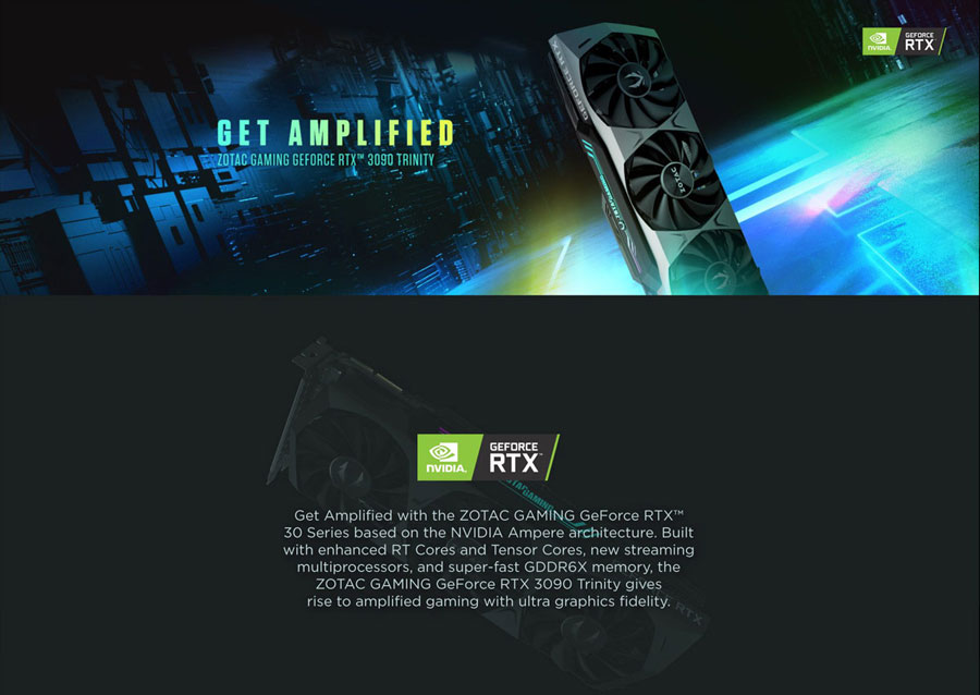 ZOTAC Gaming GeForce RTX 3090 Trinity 24GB GDDR6X Graphics Card ZT-A30900D-10P