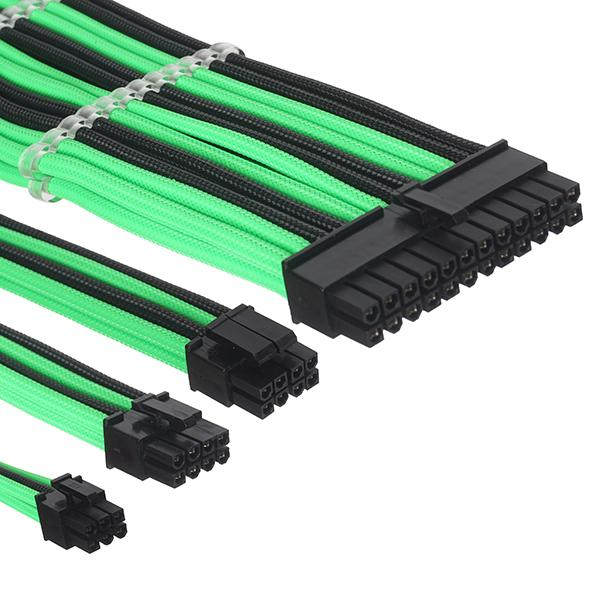ant esports modpro sleeve cable kit 30 cm extension cable green black 6