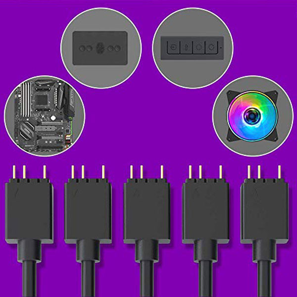 cooler master addressable rgb 1 to 5 splitter cable argb 2