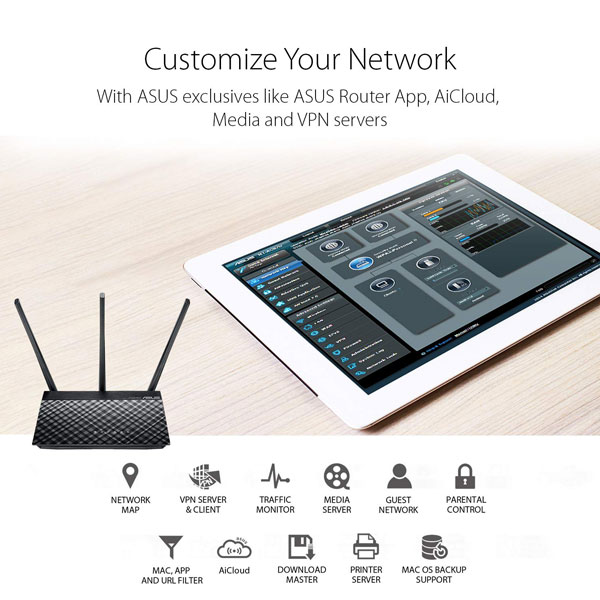 asus rt ac53 ac750 dual band wifi router 5