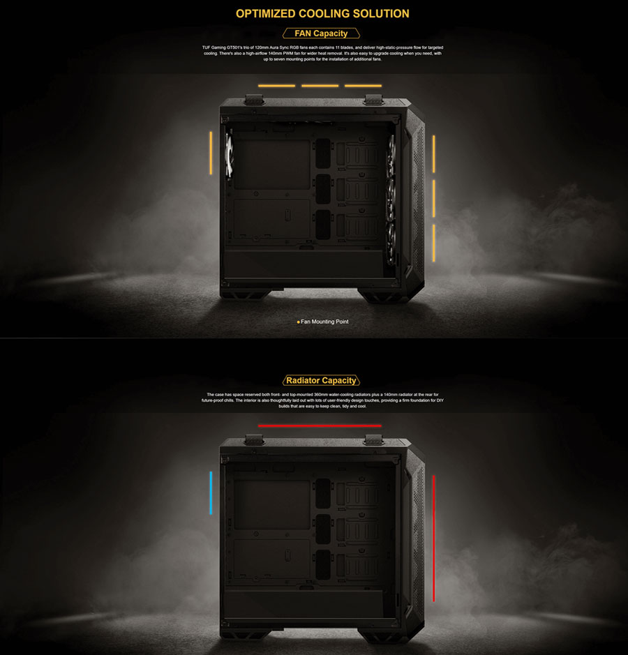 Asus TUF Gaming GT501 (E-ATX) Mid Tower Cabinet With Tempered Glass Side Panel (Black)