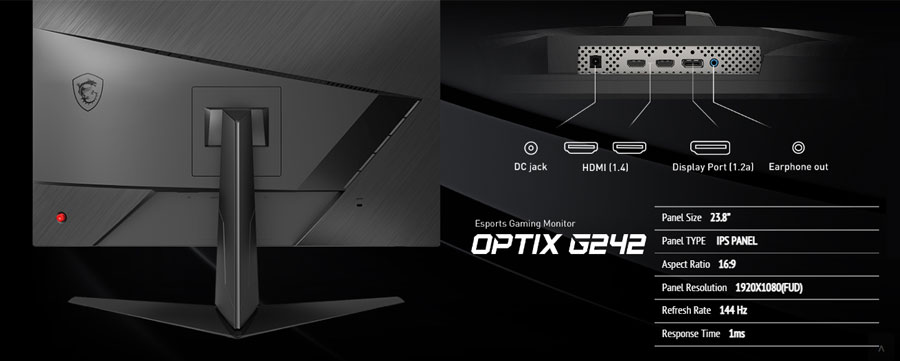 Msi Optix G242 24 Inch Gaming Monitor Adptive-Sync, 1ms Response Time, 144Hz Refresh Rate, Frameless, Flicker Free, FHD IPS Panel