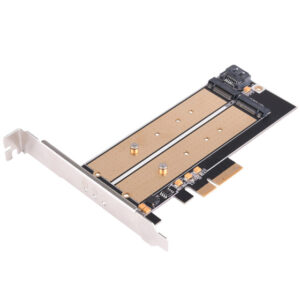 SilverStone Dual M.2 to PCI-E x4 NVME SSD & SATA 6 G adapter card with advanced cooling