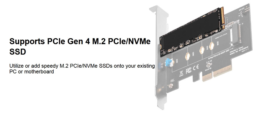 SilverStone M.2 PCIe NVMe SSD adapter card with Screwless design