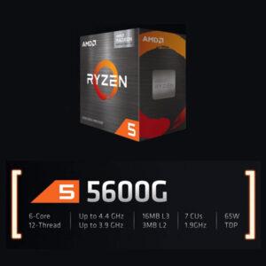 AMD Ryzen 5 5600G Processor 6 Core 12 Threads with max boost clock 4.4GHz, Base Clock 3.9GHz