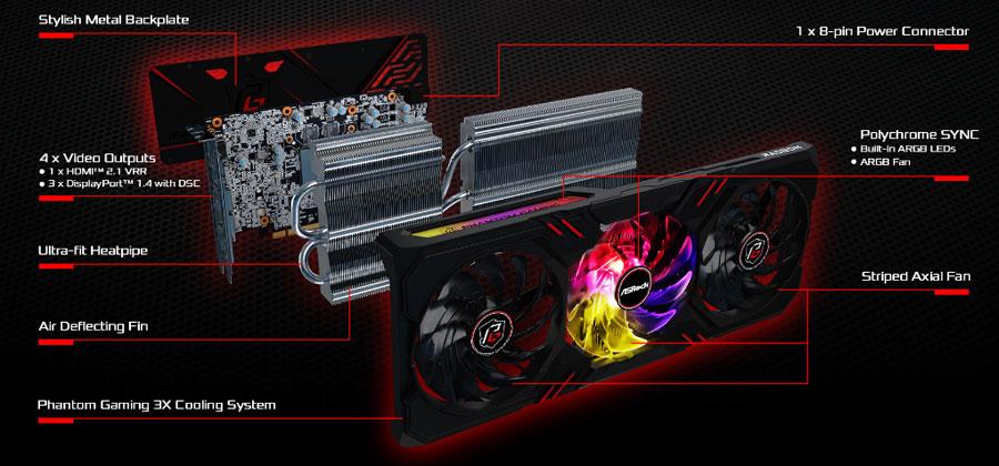 asrock amd radeon rx 6600 xt phantom gaming d 8gb oc 6