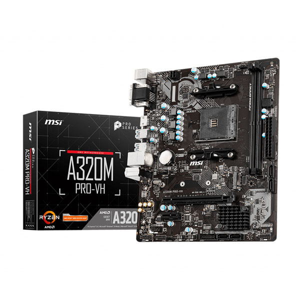MSI A320M Pro VH Motherboard Supports 1st, 2nd and 3rd Gen AMD Ryzen Processors