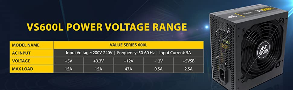 Ant Esports VS600L Value series SMPS Power Supply