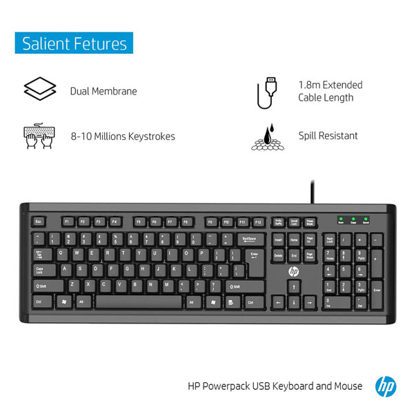 HP Powerpack USB Wired Keyboard and Mouse Combo (Y5G54PA)