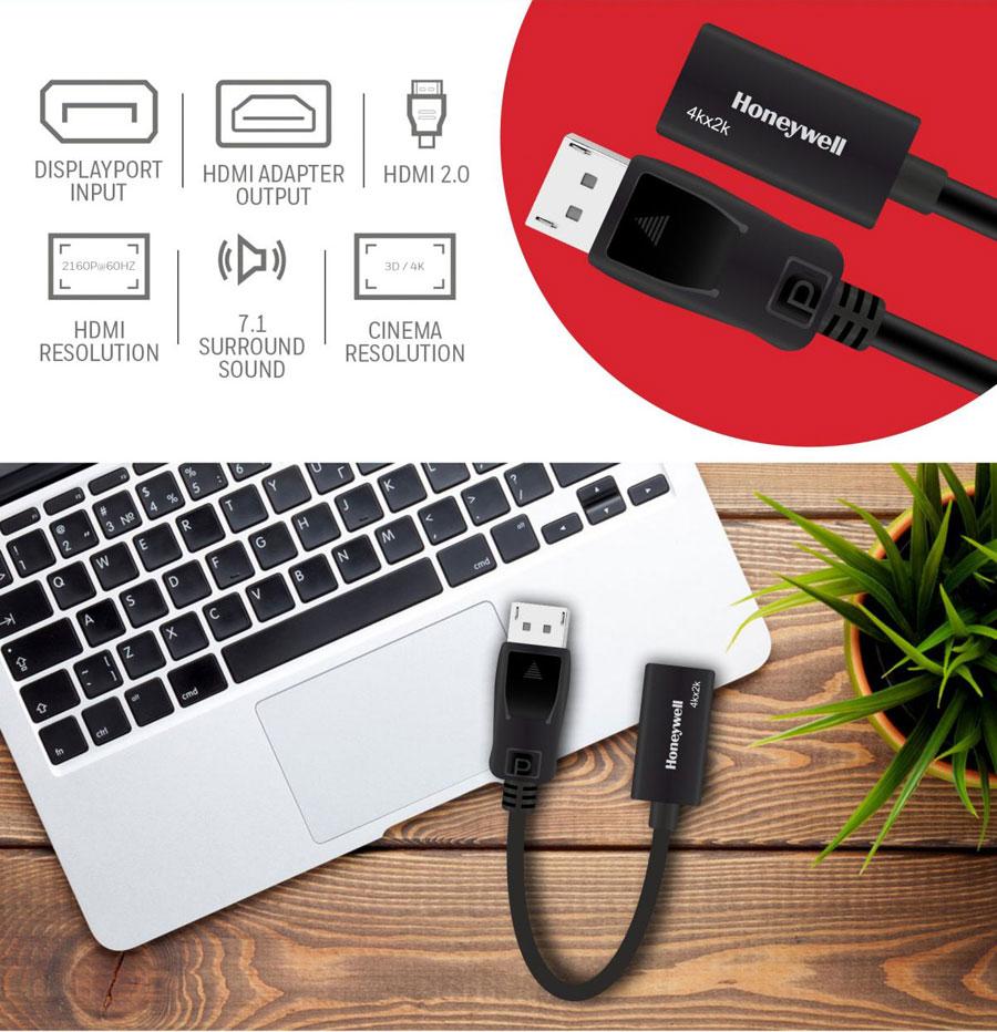 Honeywell Display Port To HDMI Adapter (Black)